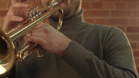 Man Playing trumpet Footage