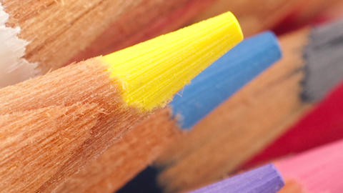 Coloured Pencils Grouped Together With A Strong Directional Element stock footage