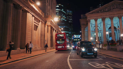 Night Shot of Headquarters of the Bank of England in London, UK Live Action