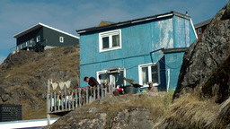 Greenland small town Qaqortoq 058 primitive residential house between rocks; the Footage