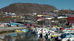 Greenland Small Town Qaqortoq 070 Boat Harbor, City And Surrounding Landscape stock footage