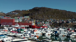 Greenland small town Qaqortoq 071 boat harbor, city and surrounding landscape Footage