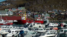 Greenland Small Town Qaqortoq 074 Landing Stages In Full Boat Harbor stock footage