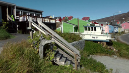 Greenland small town Qaqortoq 081 wooden stairs to upper houses Footage