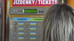 Young Attractive Blonde Woman Buys A Ticket For Public Transport - Closeup stock footage