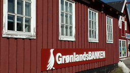 Greenland small town Qaqortoq 093 Greenlandic bank in a primitive building Footage