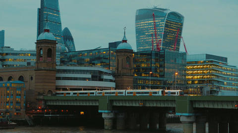 The Cannon Street Railway Bridge And The Financial District In London, England,  stock footage