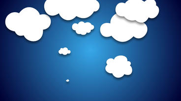 cartoon Clouds random pop up animation on blue background After Effects Template