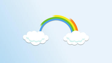 Cloud popup with colored rainbow emitting After Effects Project