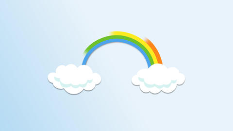 Cloud popup with colored rainbow emitting After Effects Template