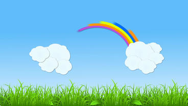 Rainbow and Cloud popup Animation with grass strip After Effects Template