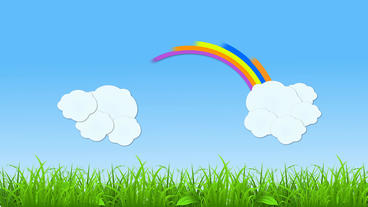 Rainbow and Cloud popup Animation with grass strip After Effects Project