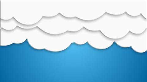 curtain style cartoon Cloud dropping and floating on blue background After Effects Template