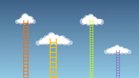 Stair poping up on different Clouds After Effects Template
