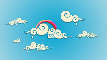 Swirly dreamy cartoon Clouds with Rainbow After Effects Project