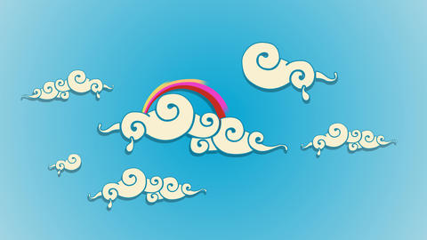 Swirly dreamy cartoon Clouds with Rainbow After Effects Template