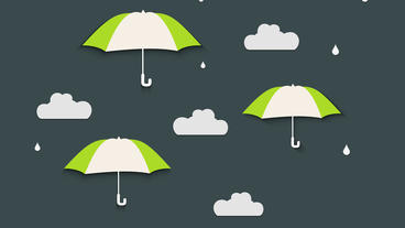Rain drops falling with Umbrella cartoon Clouds floating After Effects Project