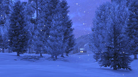 Winter pinewood and little cabin at snowfall night Footage