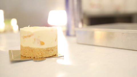 Cheese cake tart at bakery before decoration with copy space Footage