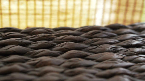 Close up of rattan texture horizontal tracking and bamboo curtain. Asian interio Footage