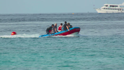 Tourists in an inflatable boat Footage