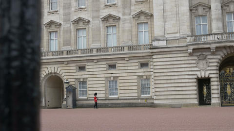 Red Uniform Guard at Buckingham Palace Footage