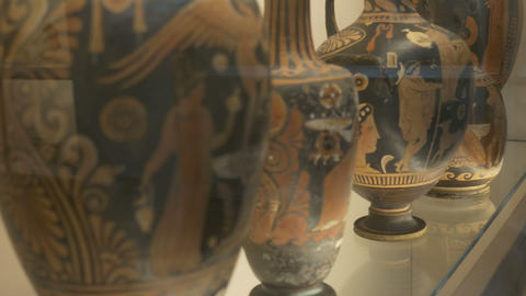 Ancient Painted Ceramic Pots Footage