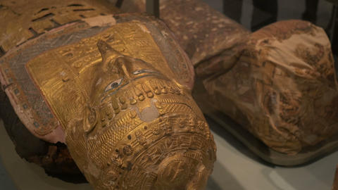 Gilded Egyptian Mummy Mask stock footage