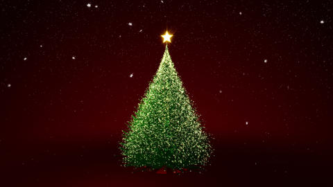 Christmas tree with gold lights Animation