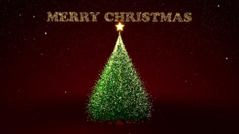 Christmas tree with gold lights and Christmas text Animation