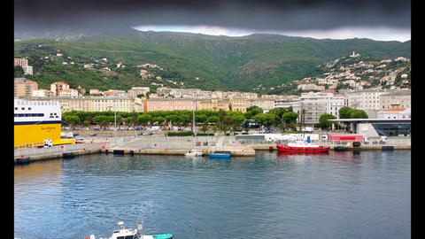 Pan Along The Cityline Of Nizza stock footage