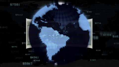 The dollar is flying around the planet, loop Animation