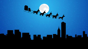 Flying Santa sleigh by reindeer over the city at night full moon After Effects Project