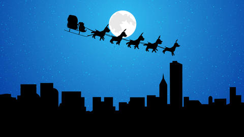 Flying Santa sleigh by reindeer over the city at night full moon After Effects Template