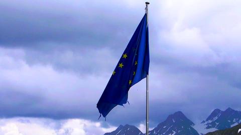 EU Flag Slowmotion With Alpine Background stock footage