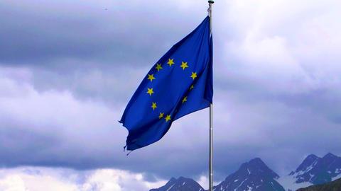 EU flag with alpine background Footage
