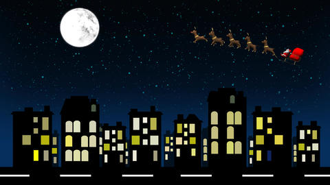Flying Santa sleigh by reindeer Over Apartment After Effects Template