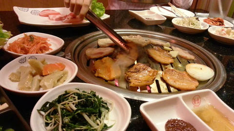 Korean bbq, asian style barbecue grill Live Action