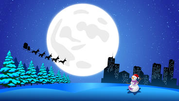 Flying Santa sleigh by reindeer over city and Ice Ground snow man After Effects Project