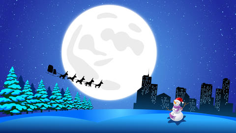 Flying Santa sleigh by reindeer over city and Ice Ground snow man After Effects Template