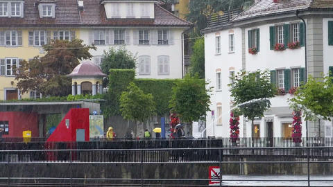 LUCERNE, SWITZERLAND - JULY 2013: View around Lucern in rainy day in july, 2013, Footage