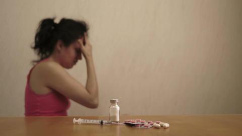 Female Dolly Headache or Depression Drugs Footage