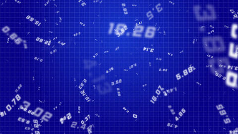 Flying Random Numbers Blue Seamless Looped Background Animation