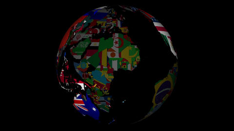 Globe with countries and their national flags Animation