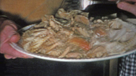 1963: Thanksgiving turkey plate separated dark & white meat served with empt Footage