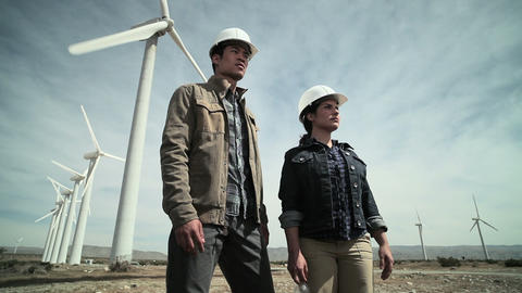 Engineers at a wind farm Stock Video Footage
