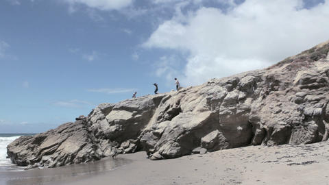 Group of young friends on cliff Footage