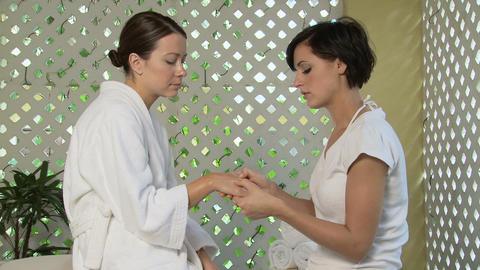 Woman having hand massage Stock Video Footage