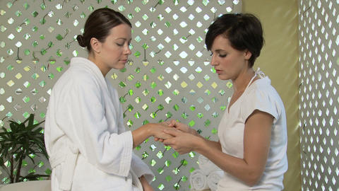 Woman having hand massage Stock Video Footage