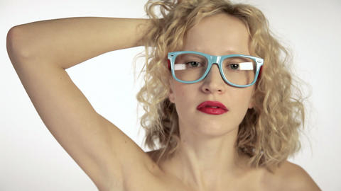 Young woman wearing glasses Stock Video Footage
